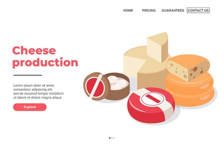 Dairy production page design with cheese production symbols isometric vector illustration Ilustracja