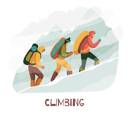 Mountain climbing trip flat composition with mountaineers wearing protective clothing harness backpacks with camping equipment vector illustration