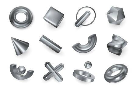 Formes géométriques objets métalliques argentés éléments décoratifs croix pendentif anneau de cône de perles à facettes ensemble réaliste illustration vectorielle Vecteurs