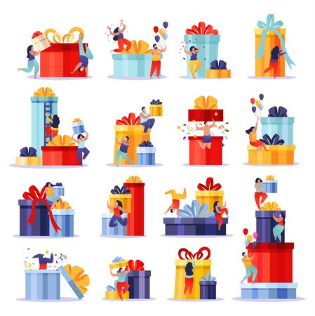 People with gifts flat collection of isolated doodle compositions with human characters climbing up gift boxes vector illustration