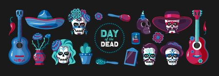 Day of dead cartoon color set of  ethnic mexican items holiday mask and national wear isolated on black background vector illustration Standard-Bild - 141507396