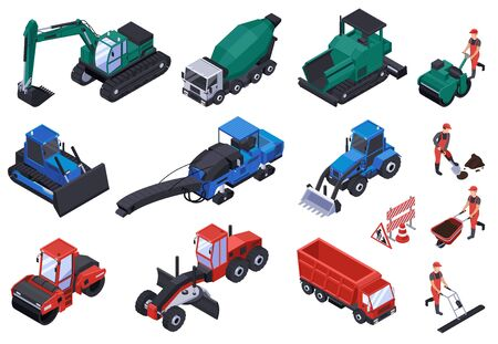 Isometric road construction icon set different types of machines bulldozers and equipment vector illustration
