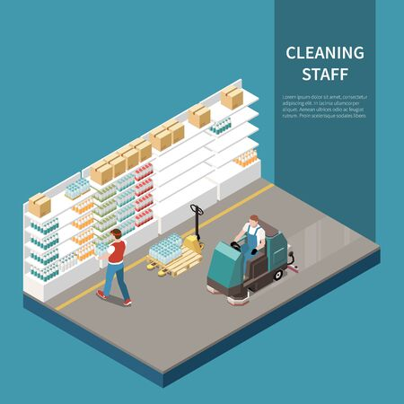 Professional cleaning service isometric composition with warehouse store space   floor buffer heavy duty industrial machinery vector illustration