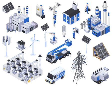 Electricity isometric icons set with solar panels power stations high voltage wires isolated on white background 3d vector illustration