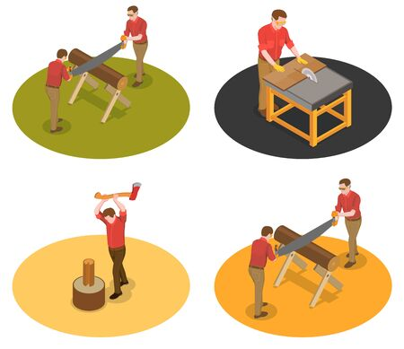 Sawmill timber mill lumberjack isometric set of four isolated compositions with characters of workers with wood vector illustration