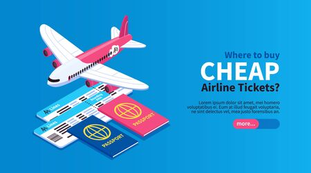 Cheap flights airline tickets book trip online horizontal isometric web banner with airplane passport blue background vector illustration