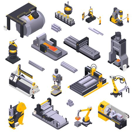 Metal industry isometric icons set with automated plant equipment and workers isolated on white background 3d vector illustration