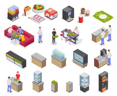 Food court isometric set with icons and images of meal products furniture shop displays and equipment vector illustation
