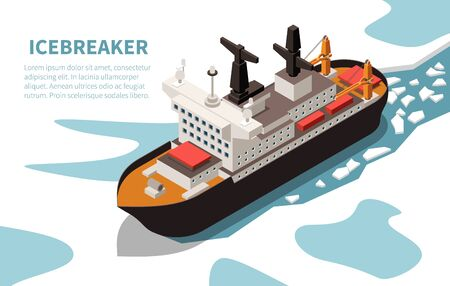 Modern powerful nuclear icebreaker ship in ice-covered water isometric  vessel image title text vector illustration