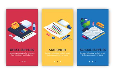 Office and school stationery vertical banners set with supplies symbols isometric isolated vector illustration