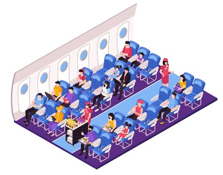 Aircraft salon interior isometric composition with cabin crew attendants stewardess serving passengers meal during flight vector illustration