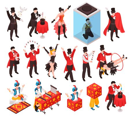 Isometric magician showing tricks focuses set of isolated human characters with show props and gaudy dress vector illustration