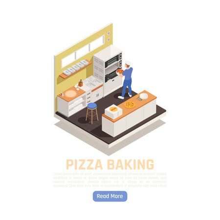 Pizza shop takeaway restaurant delivery baking and service counter isometric composition with setting in oven vector illustration  Stock Illustratie