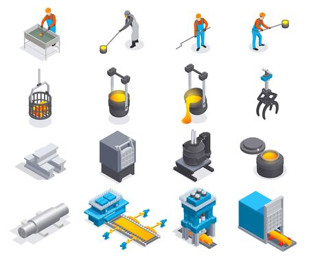 Metallurgy foundry industry isometric set with sixteen isolated icons of plant facilities factory equipment and people vector illustration