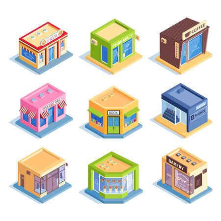 Isometric set of colorful icons with various shops and cafes exterior isolated on white background 3d vector illustration