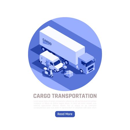 Cargo transportation isometric design concept with truck and city transport intended for delivery of various cargoes vector illustration