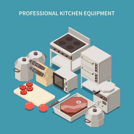 Professional kitchen appliances isometric image with commercial range microwave oven toaster breakfast equipment chef knives vector illustration