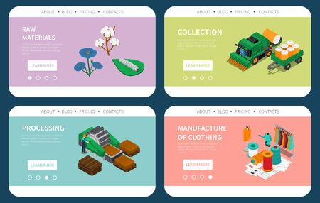 Textile industry raw materials collection processing fabric clothing manufacturing 4 colorful isometric compositions website design vector illustration