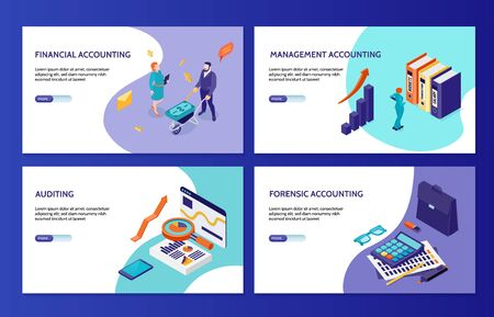 Forensic financial and management accounting and auditing horizontal banners 2x2 set isometric vector illustration