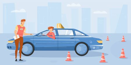 Training at driving school flat background with student in car and instructor vector illustration