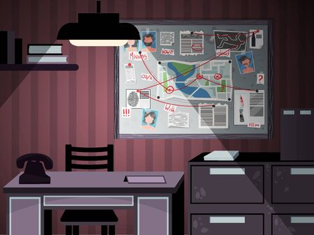 Detective board office interior composition with indoor view of private investigators workspace with pieces of furniture vector illustration