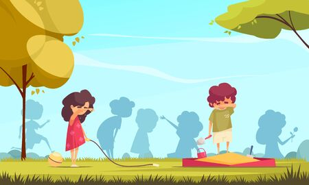 Colored cartoon background with two lonely children crying on playground vector illustration