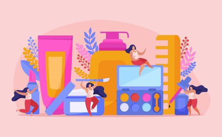 Beauty salon flat composition with abstract situation four girls sit on beauty tools and have fun vector illustration