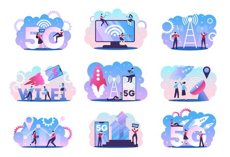 5g internet technology set of nine isolated compositions with doodle characters rockets in sky and pictograms vector illustration