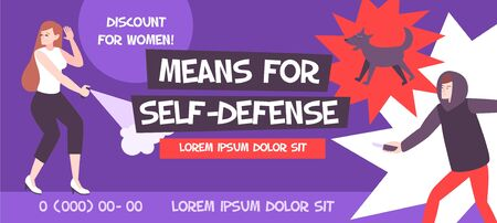 Self defense banner composition with editable advertising text phone numbers and flat human characters with threats vector illustration