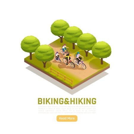 Biking and hiking isometric composition with family riding bicycles in city park vector illustration