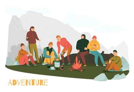 Mountain hiking tours adventures flat composition with mountaineers making halt in foothills starting camping fire vector illustration  Иллюстрация