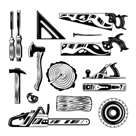 Woodwork tools engraving hand drawn set of handsaw axe planer chainsaw isolated vector illustration