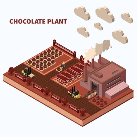 Chocolate plant abstract background with conveyor lines and loaders of finished sweet food production isomeric vector illustration Vecteurs