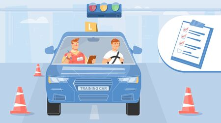 Student taking driving test with instructor flat design background vector illustration
