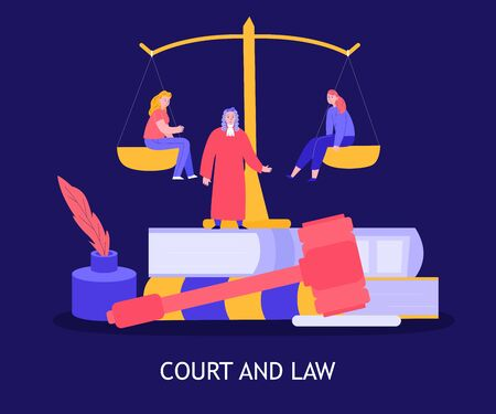 Court law colorful composition with judge gavel plaintiff and defendant sitting on balance blue background vector illustration