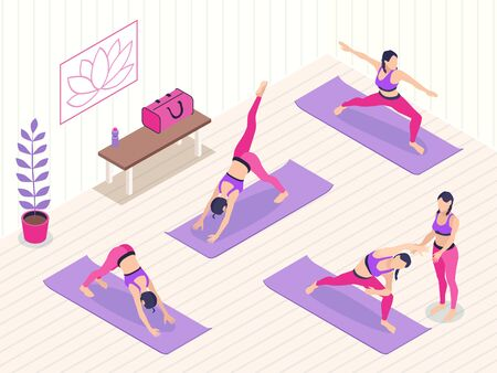 Yoga studio isometric background with group of female characters doing exercises with coach vector illustration