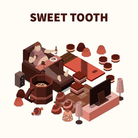 Sweet tooth isomeric background with fat man eating sweets and chocolate production vector illustration