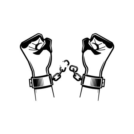 Black and white hand chain composition with hands of the prisoner breaking the chain vector illustration