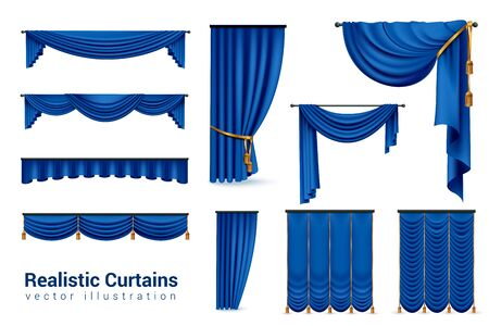Realistic blue curtains set with isolated images of luxury curtains with various shapes and golden ties vector illustration