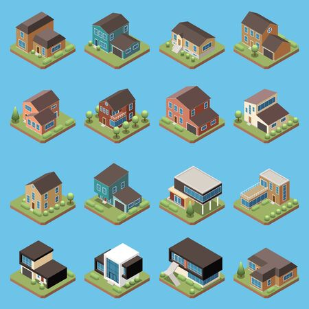 Suburban residential houses isometric set with dwelling place and garage isolated vector illustration