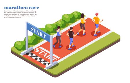 Marathon race runners isometric composition with participants starting jogging contest on sunny summer day text vector illustrations  Ilustracja