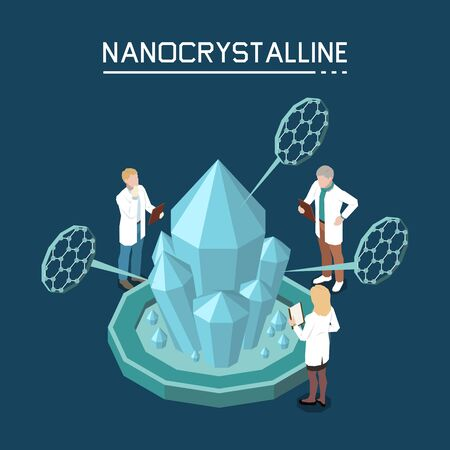 Non classical crystal growth using nano crystalline based on nanoparticles isometric composition with lab staff vector illustration