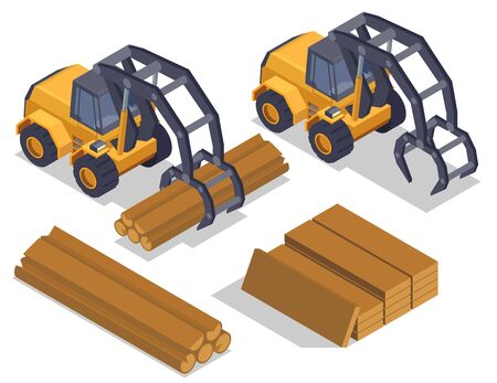 Sawmill timber mill lumberjack isometric composition with isolated images of industrial loaders manipulator vehicles and wood vector illustration Vector Illustration
