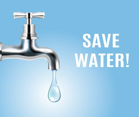 Save water advertising ecology concept background with drop of water coming out of tap realistic vector illustration Çizim
