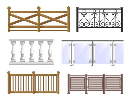 Balcony fence realistic set in classical modern and decorative forged styles isolated vector illustration Illustration