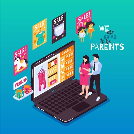 Isometric kids pregnant online shopping composition with laptop and sale promotions with future baby parents characters vector illustration