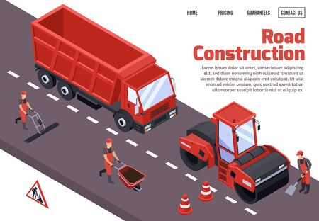 Road construction isometric concept with big headline and red machines and bulldozers