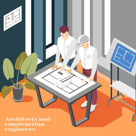 Architectural engineers office work isometric composition with building construction planning sketching technical drawing blueprint background vector illustration