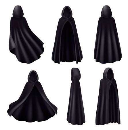 Black mantle hood realistic set with isolated images of dark robes monk dress on blank background vector illustration Stock Illustratie