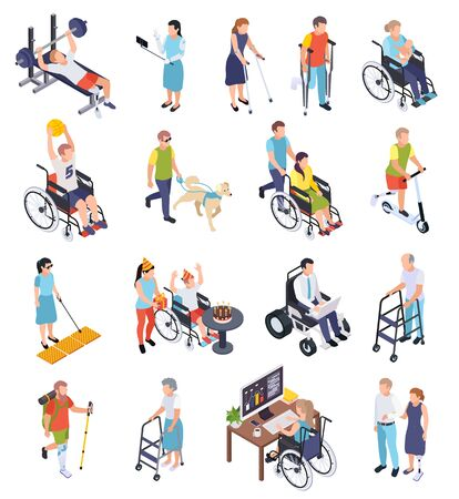 Male and female disabled people working walking doing sports isometric icons set isolated on white background 3d vector illustration